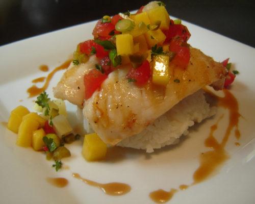 Fresh Fish Gauguin with Mango Orange Reduction