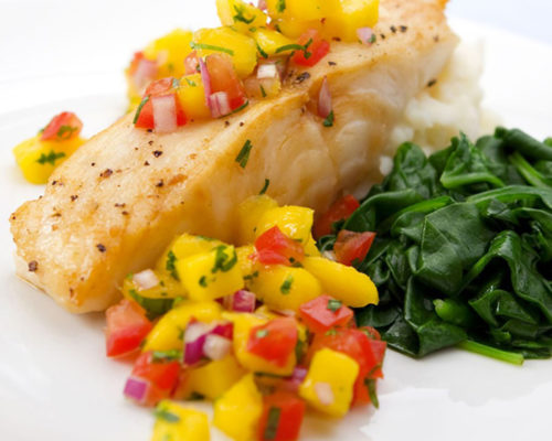 Grilled Grouper with Mango & Pepper Salsa